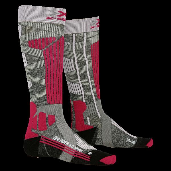 X-SOCKS Ski Rider 4.0 WMN Stone Grey Melange/Pink