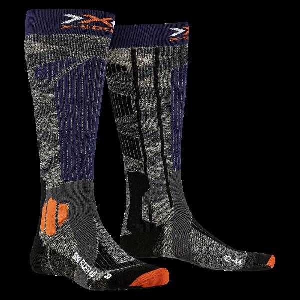 X-SOCKS Ski Rider 4.0 Stone Grey/Melange Blue