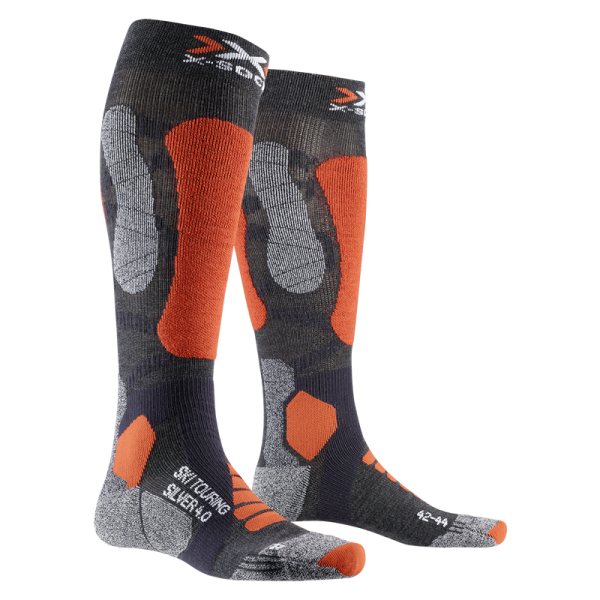 X-SOCKS Ski Touring 4.0 Anthracite Melange/Orange Fluo