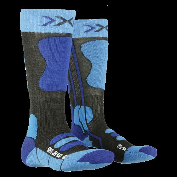X-SOCKS Ski Junior 4.0 Anthracite Melange/Electric Blue