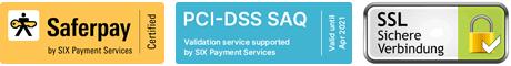 Saferpay, Acertigo PCI-DSS, 256 Bit SSL-Verschlüsselung
