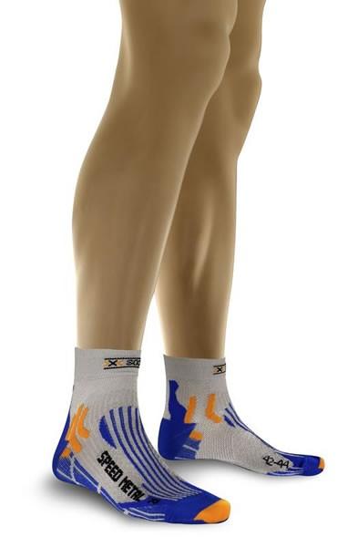 X-SOCKS Run Speed Metal Socken Silver/Cobalt Blue