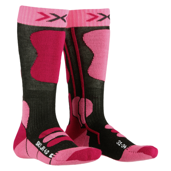X-SOCKS Ski Junior 4.0 Anthracite Melange/Fluo Pink