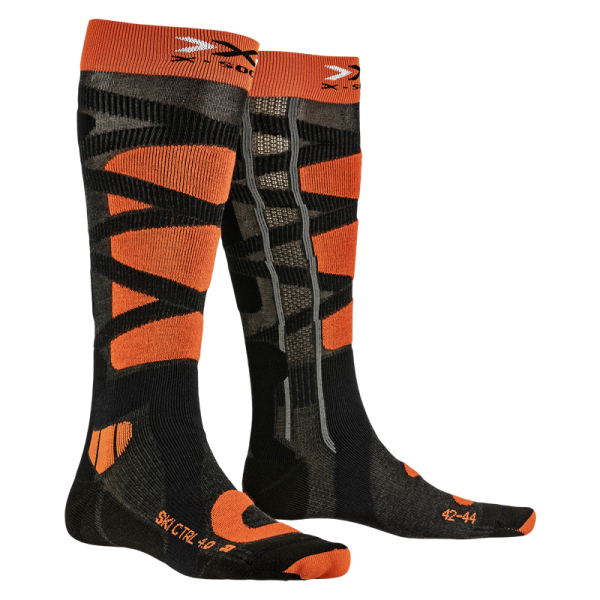 X-SOCKS Ski Control 4.0 Anthracite Melange/X-Orange