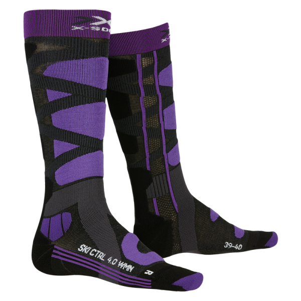 X-SOCKS Ski Control 4.0 WMN Charcoal Melange/Purple
