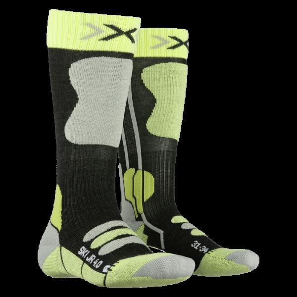 X-SOCKS Ski Junior 4.0 Anthracite Melange/Green Lime